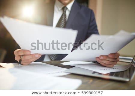 portret · zakenman · lezing · document · kantoor · financieren - stockfoto © Minervastock