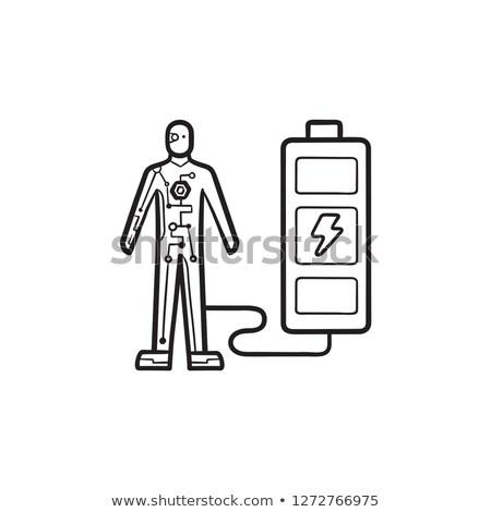 androide · boceto · icono · vector · aislado · dibujado · a · mano - foto stock © rastudio