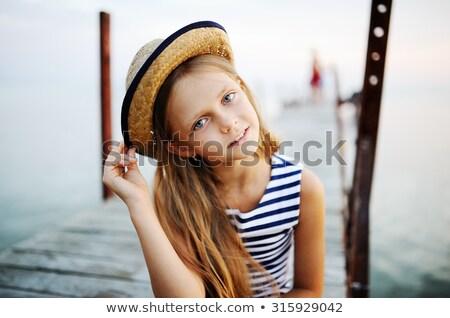 女の子 船乗り 帽子 かわいい 少女 考え ストックフォト © JamiRae