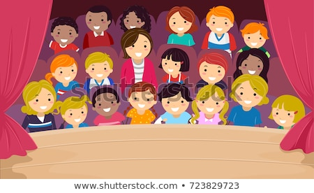 stickman kids family theater audience illustration stock photo © lenm