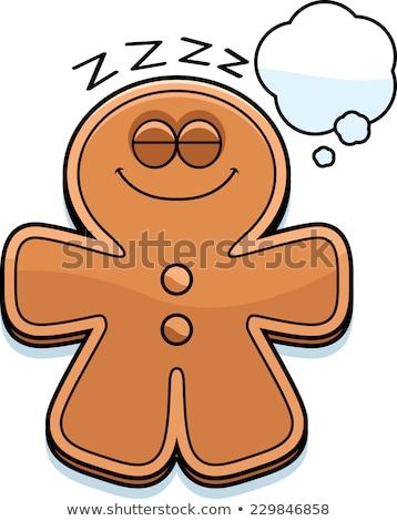 dreaming cartoon gingerbread man stock photo © cthoman