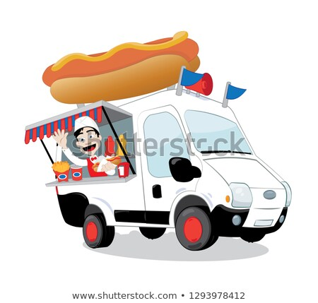 funny hot dog van parked and friendly man serving a hot dog stock photo © pcanzo