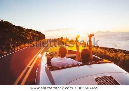 auto · mensen · gelukkig · paar · rijden · weg - stockfoto © dolgachov