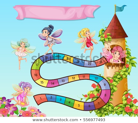 Boardgame design with fairies flying in garden stock photo © colematt