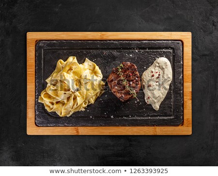 Tenderloin steak with pasta pappardelle  Stock photo © grafvision
