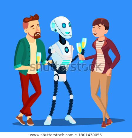 Robot Drinking Champagne And Laughing At Party With Man And Woman Vector. Isolated Illustration Stock photo © pikepicture