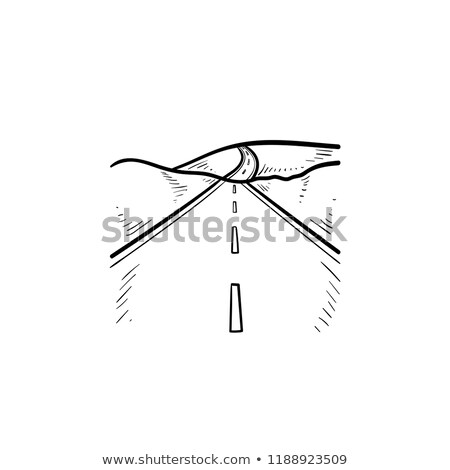Highway and landscape hand drawn outline doodle icon. Stock photo © RAStudio