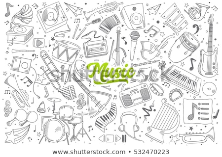 Music Headphones  with Sounds and Notation Sketch Stock photo © robuart