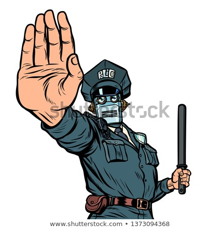 Stop hand gesture. Robot policeman. Isolate on white background Stock photo © studiostoks
