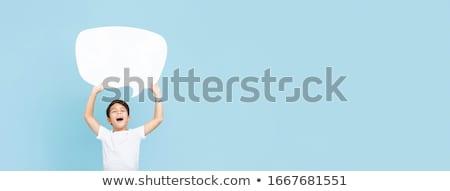 A boy with speech balloon Stock photo © colematt