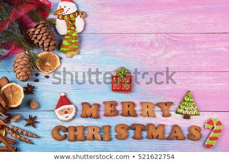 Christmas theme with baker and tree Stock photo © colematt