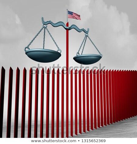 amerikai · keret · fal · biztonság · barikád · zászló - stock fotó © lightsource