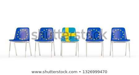 Row of chairs with flag of EU and sweden Stock photo © MikhailMishchenko