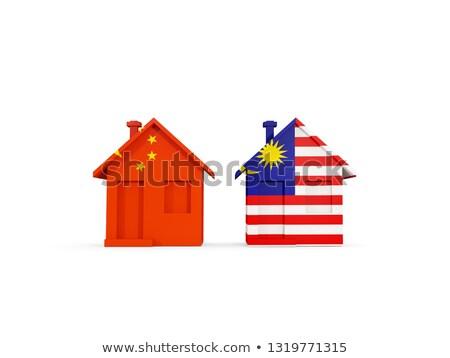 Foto stock: Dois · casas · bandeiras · China · Malásia · isolado