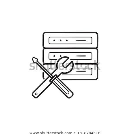 Database with wrench and screwdriver hand drawn outline doodle icon. Stock photo © RAStudio