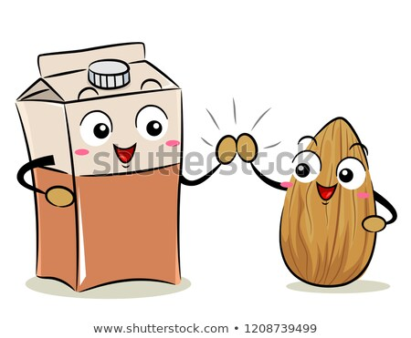 Mascot Almond Milk Box High Five Illustration Stock photo © lenm