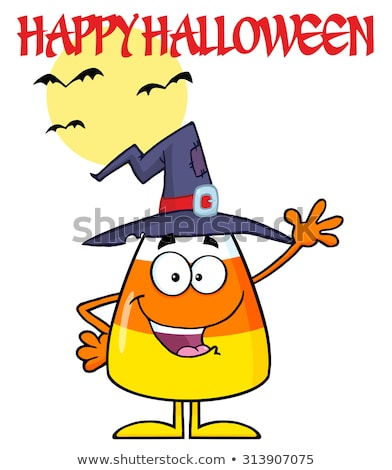 Smiling Candy Corn Cartoon Character With A Witch Hat Waving Stock photo © hittoon
