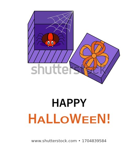 Funny Purple Halloween Spider Cartoon Character On A Web With Text Stock photo © hittoon