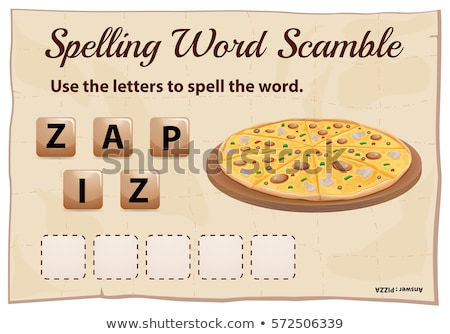 Spelling word scramble game template with word pizza Stock photo © colematt