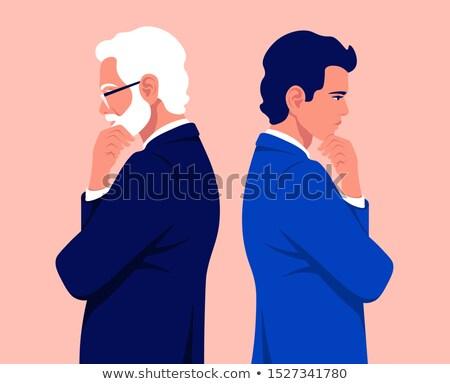 Pár üzlet öltönyök gondolkodik kéz áll Stock fotó © feedough