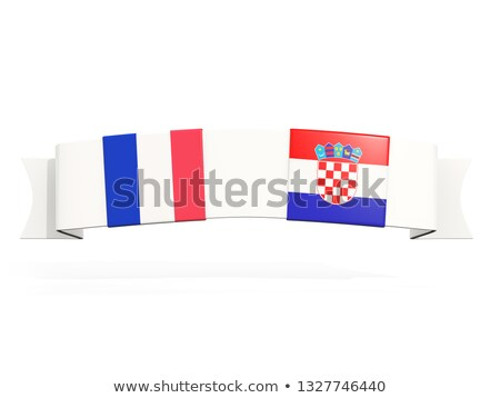 Banner with two square flags of France and croatia Stock photo © MikhailMishchenko