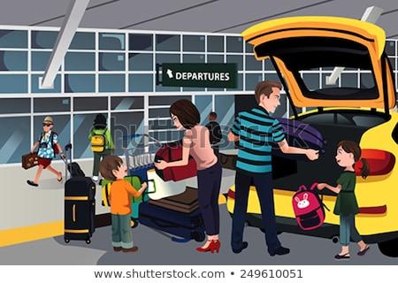 Kid Girl Baggage Cart Illustration Stock photo © lenm