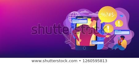 Szalag fejléc okostelefon zaklatott áldozat online Stock fotó © RAStudio
