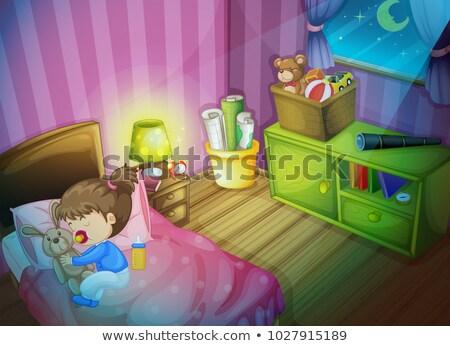女の子 寝 バニー 人形 ベッド 実例 ストックフォト © colematt