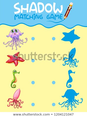 Sea creature shadow matching game template Stock photo © colematt