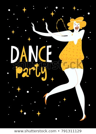 Cute vector illustration of a woman dancing charleston dance Stock photo © Giraffarte