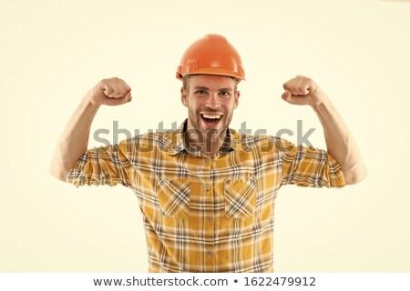Jungen männlich Builder Auftragnehmer isoliert weiß Stock foto © Elnur