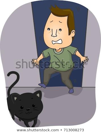 Férfi ijedt fekete macska illusztráció macska rajz Stock fotó © lenm
