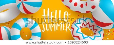 nyár · medence · buli · poszter · design · sablon · pálmalevelek - stock fotó © cienpies