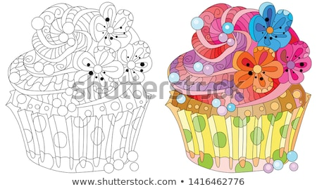 Vector piece of cake with abstract ornaments. Stock photo © Natalia_1947