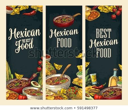 Tekening verticaal kleur mexicaans eten menu retro Stockfoto © netkov1
