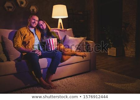 пару · расслабляющая · журнала · улыбаясь · человека · счастливым - Сток-фото © phbcz