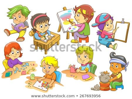 Stockfoto: Ingesteld · kinderen · activiteit · illustratie · school · achtergrond