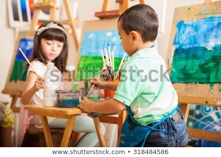 çocuklar · çalışmak · beyaz · kâğıt · yalıtılmış · çocuk - stok fotoğraf © szefei