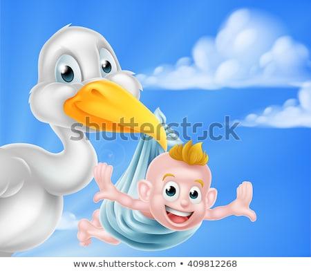 stork cartoon pregnancy myth bird with new baby stock photo © krisdog