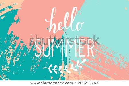 Hola verano diseno colorido palmas oscuro Foto stock © derocz