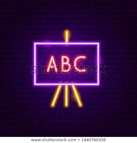 Okul tahta neon etiket eğitim tanıtım Stok fotoğraf © Anna_leni