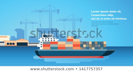 Container ship at freight port terminal Unloading. Merchant Marine. Flat vector illustration Stock photo © makyzz