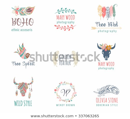 Bohemian, tribal, ethnic icon set with feather, bird and wreath Stock photo © marish