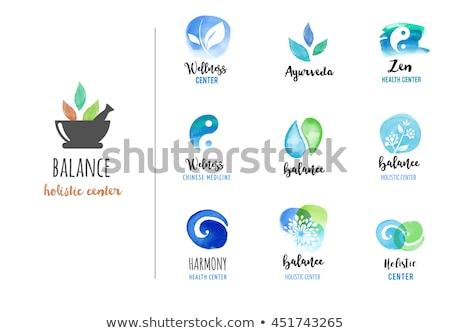 Médecine alternative bien-être yoga vecteur couleur pour aquarelle icônes Photo stock © marish