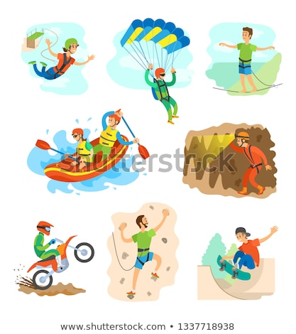 Climbing and Bungee Jumping Man and Woman Set Stock photo © robuart