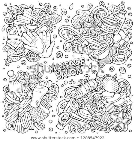 Line art vector hand drawn doodles cartoon set of Massage combinations Stock photo © balabolka