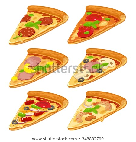 цвета морепродуктов итальянский ломтик пиццы рисованной Сток-фото © pikepicture