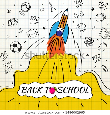 Back to school poster with rocket and doodles on checkered paper background. Vector illustration for Stock photo © ikopylov