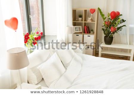 Gezellig slaapkamer ingericht valentijnsdag interieur romantische Stockfoto © dolgachov