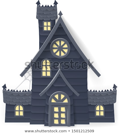 Halloween Haunted House Cartoon Papercraft Style Stock photo © Krisdog